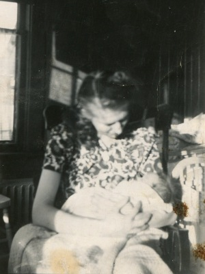 Roger with his mother, Edmonton, 1946.